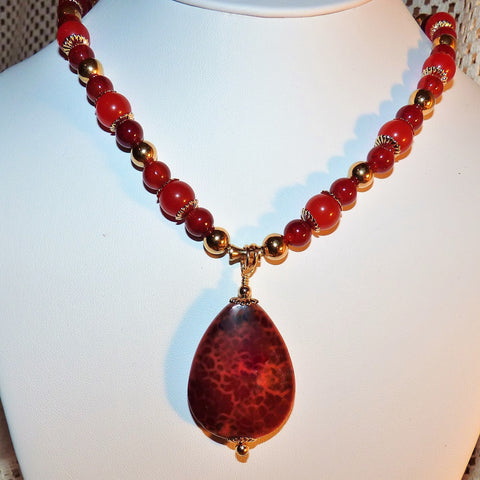 Crab Agate Pendant & South American Topaz Necklace