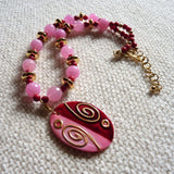 Hand Painted Kabibe Shell, Red Coral and Pink Jade Gold Necklace