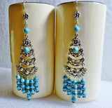 Blue Magnesite and Bali Sterling Chandelier Earrings