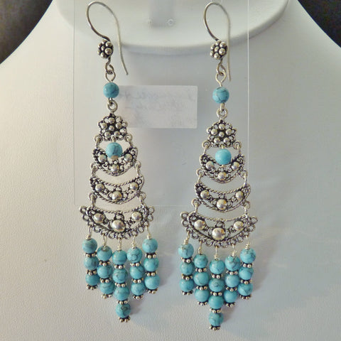 Blue magnesite and bali sterling chandelier earrings kaminski blue magnesite and bali sterling chandelier earrings aloadofball Images