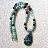 Blue and Black Coral Fossil Pendant and Amazonite Sterling Necklace