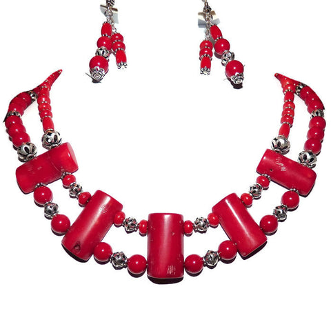 Red Coral and Bali Sterling Silver Double Strand Necklace Set