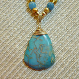 Ocean Blue Variscite Pendant, Grace Lampwork Gold Filled Necklace
