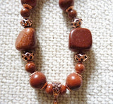 Goldstone, Jasper and Copper Necklace Set