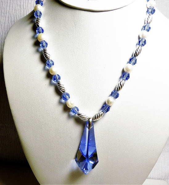 Sapphire Blue Swarovski Crystals Pendant And Pearls