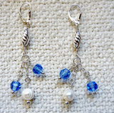 Sapphire Blue Swarovski Crystals, Pendant and Pearls Sterling Silver Set