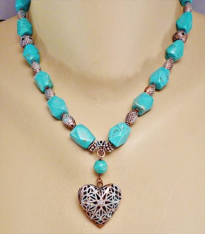 Turquoise and Copper Heart Locket Necklace and Earring Set