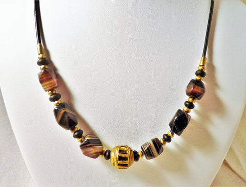 Men's or Women's African Trade Beads and Striped Agate with Brass and Leather Necklace