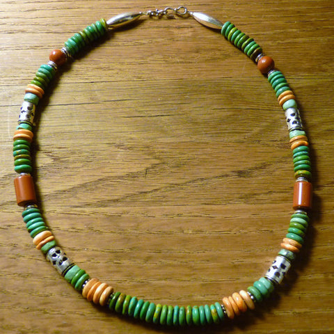 Southwestern Green Turquoise and Orange Spiny Oyster Sterling Necklace