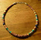 Southwestern Style Handcrafted Purple Spiny Oyster with Multi Colored Gemstone Beads and Sterling