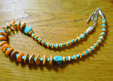 Orange Spiny Oyster and Turquoise Southwestern Sterling Necklace