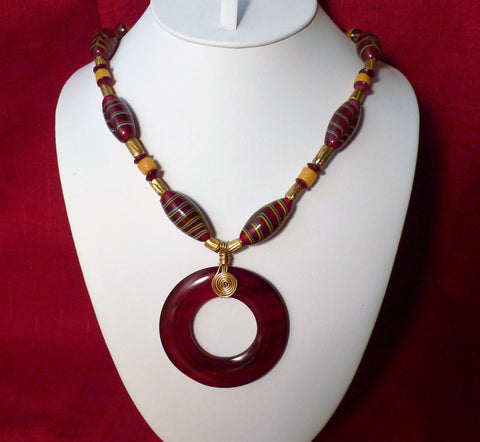 Red Horn and Ruby Red Feather African Trade Beads Necklace