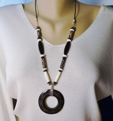 Black Horn Pendant and Batik Bone African Trade Beads Sterling Necklace