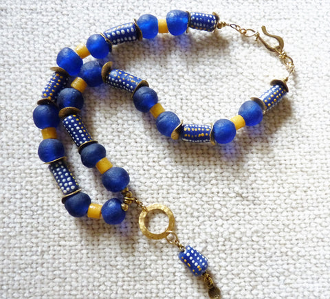 African Trade Krobo Beads and Brass Necklace