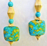 Turquoise and Bali 24K Gold Vermeil Earrings