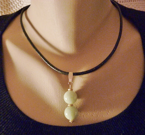 Light Green Natural Jadeite Jade and Black Leather Gold Filled Necklace
