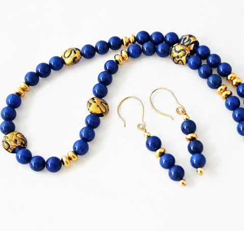 Lapis and Lampwork Beads Gold Filled Necklace and Earring Set