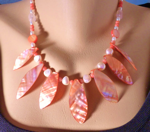 Salmon Mother of Pearl Leaf Beads, Coral and Freshwater Pearl Necklace and Earring Set