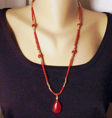 Red Carnelian with Swarovski Crystal and Gold Necklace