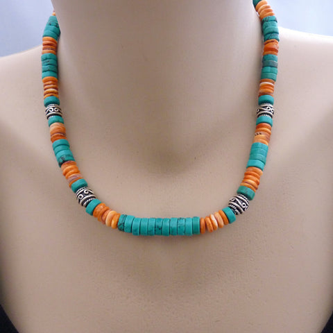 Southwestern StyleTurquoise and Orange Spiny Oyster Sterling Necklace
