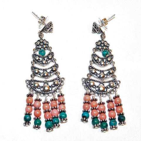 Salmon Coral and Turquoise Bali Sterling Chandelier Earrings
