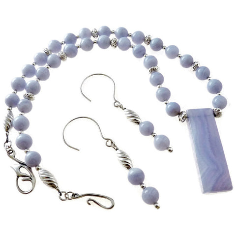 Genuine Blue Lace Agate and Sterling Necklace and Earring Set