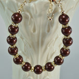 Swarovski Maroon Crystal Pearls and Gold Crystal Rondelles Gold Filled Bracelet
