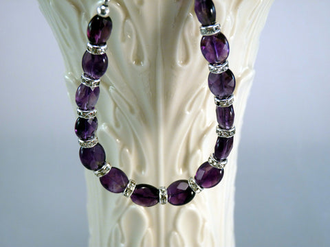 Natural Faceted Amethyst and Silver Swarovski Crystal Rondelles Bracelet
