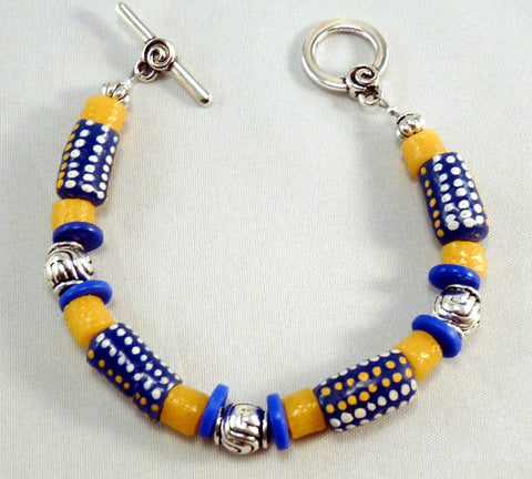 Colorful Cobalt Blue Krobo African Trade Beads and Silver Bracelet