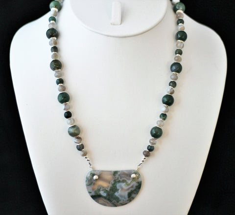 Green White and Gray Moss Agate Pendant and Beads Sterling Necklace