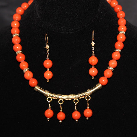 Orange Dolomite Beads and Gold Vermeil Necklace Set
