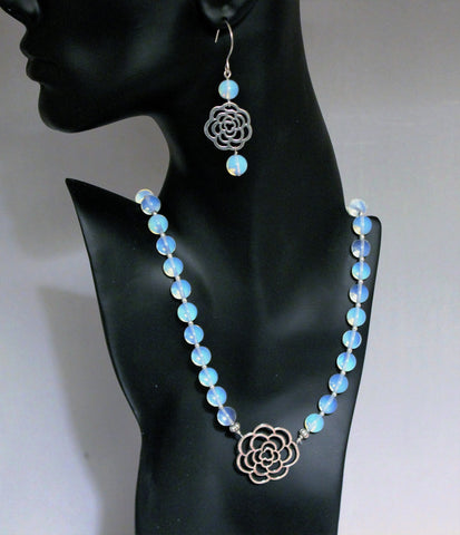 Flower Connector and Opalite Silver Necklace and Earring Set