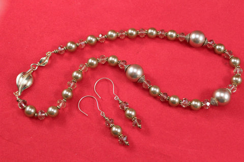 Bronze Swarovski Pearls and Austrian Crystals Bronze Necklace and Earrings Set