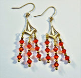 Swarovski Red Magma Crystals and Brass Chandelier Earringswith Gold Filled Ear Wires