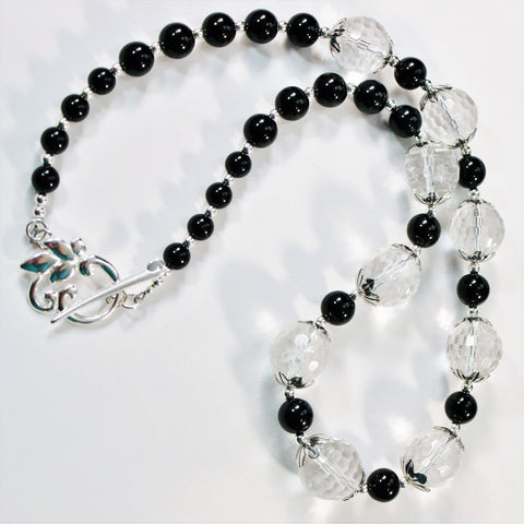 Faceted Clear Quartz and Black Onyx Sterling Necklace