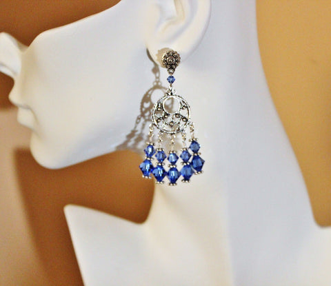 blue sapphire swarovski crystals chandelier earrings sterling - Swarovski Crystal Chandelier