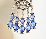 Blue Sapphire Swarovski Crystals Chandelier Earrings | Sterling