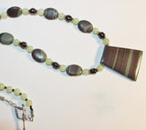 Mint Green and Mocha Ribbon Jasper, Serpentine and Brown Pearls Long Sterling Necklace