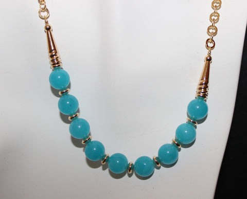 Aqua Blue Chalcedony and Gold Necklace