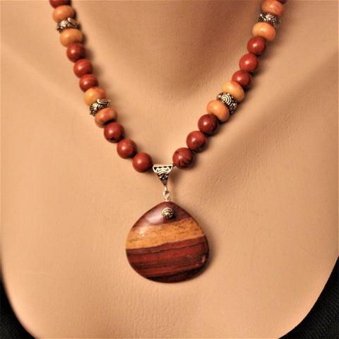 Artisan Red and Gold Rainbow Jasper Necklace