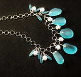 Aqua Sea Glass and Silver Necklace