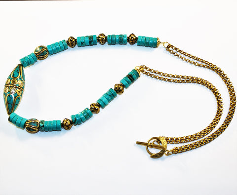Tibetan Brass Inlaid Turquoise Focal Bead, Turquoise and Brass Necklace