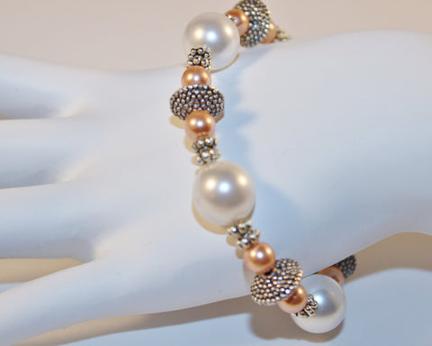 White and Peach Swarovski Crystal Pearls and Silver Pewter Bracelet