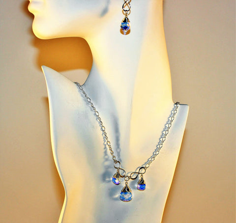 Swarovski Briolette Crystals and Sterling Chain Necklace and Earring Set