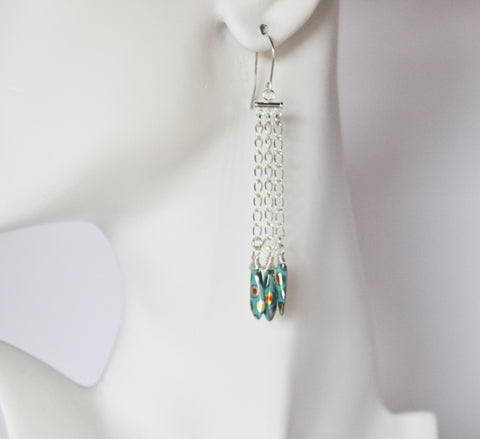 Peacock Czech Dagger Beads and Sterling Chain Dangle Earrings