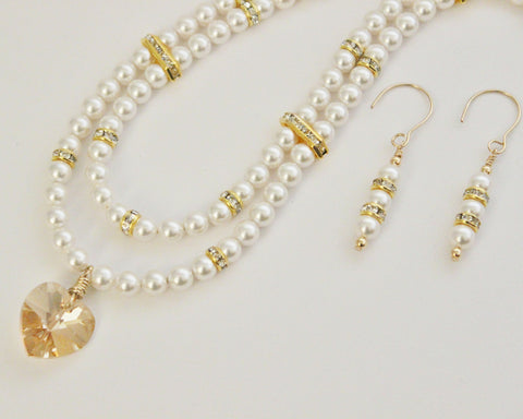 White Swarovski Pearls and Crystal Rondelles Gold Filled Necklace and Earring Set