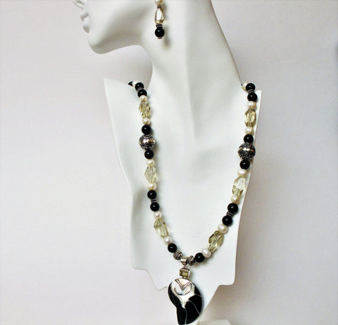 Bali Nautilus Shell Sterling Pendant with Citrine Onyx and Pearls Sterling Necklace Set