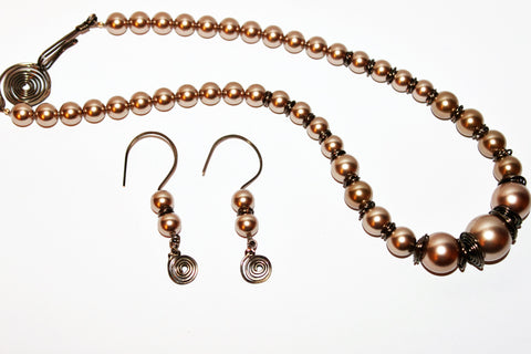 Bronze Crystal Pearls & Dark Bronze Wirework Necklace and Earrings