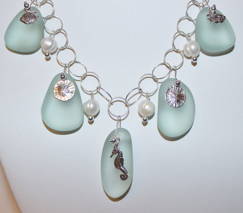 Seafoam Colored Sea Glass and Charms with Freshwater Pearls on Sterling Chain Necklace