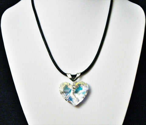 Swarovski Forever 1 Heart Crystal Pendant with Sterling on Black Leather Cord